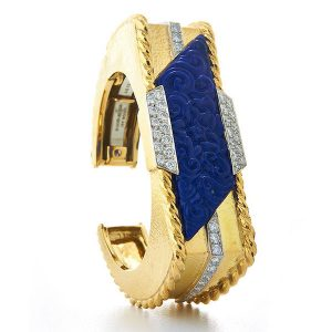 David Webb carved lapis bracelet