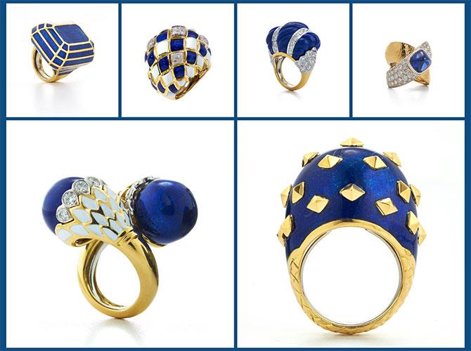 David Webb gold lapis and enamel rings