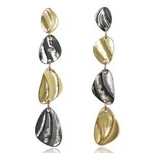 K Mita two tone Pebble dangle earrings
