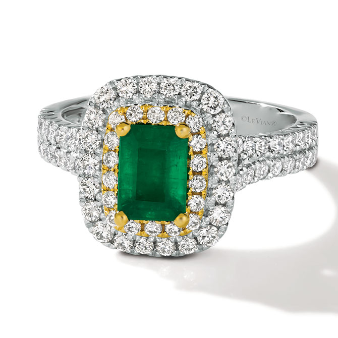 Le Vian emerald and platinum ring