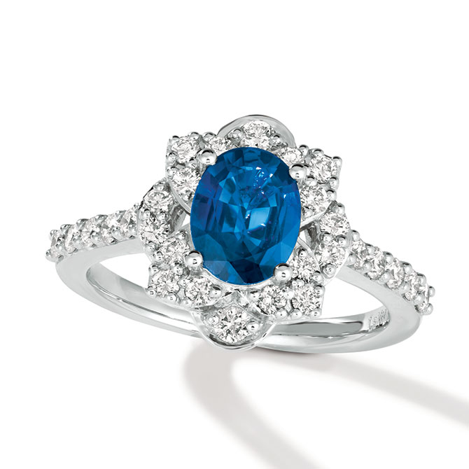 Le Vian sapphire and platinum ring