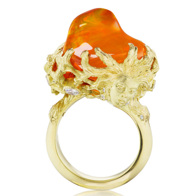 Anthony Lent fire opal Muse ring