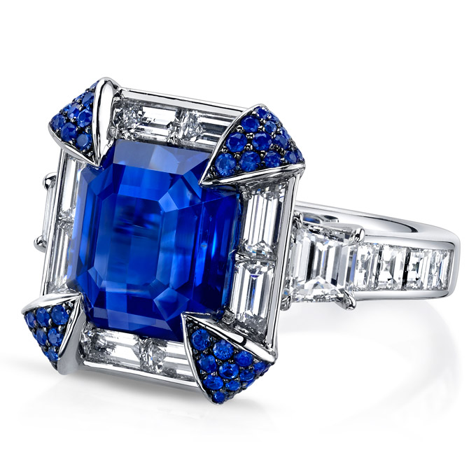 Omi Prive platinum sapphire and diamond ring