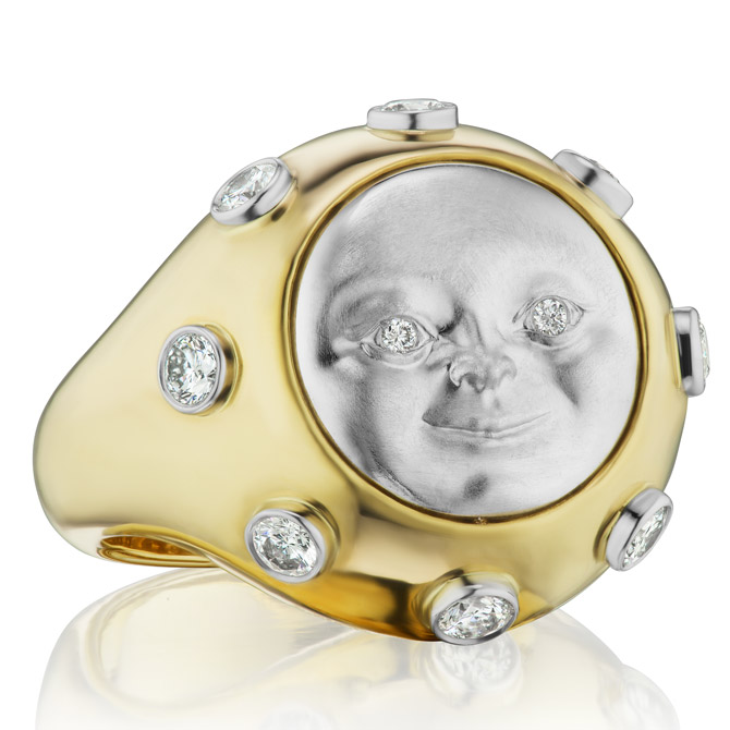 Anthony Lent platinum moonface signet ring