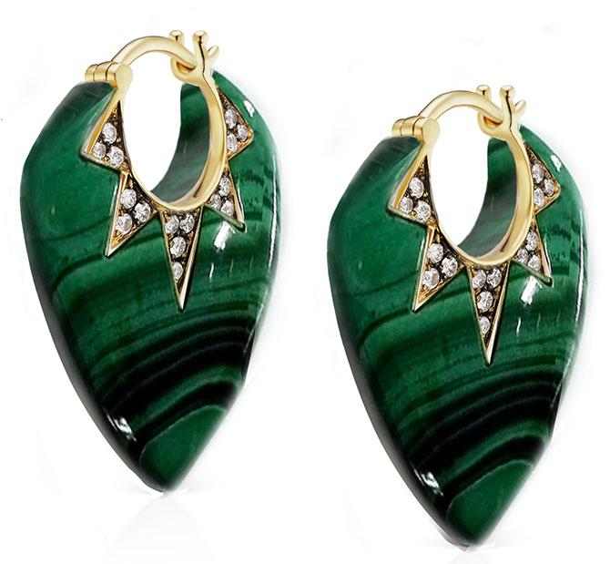 Sorellina malachite guitar pick earrings