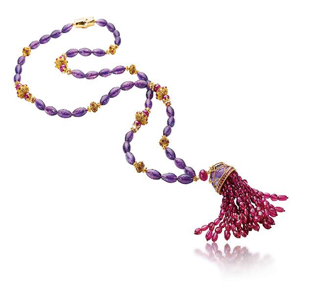 Verdura ruby Tassel necklace
