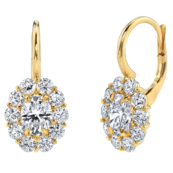 KR Diamonds oval cluster earrings