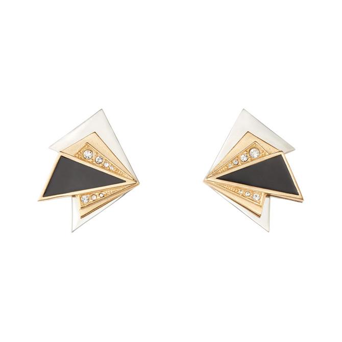 Met Erte Geometric clip earrings