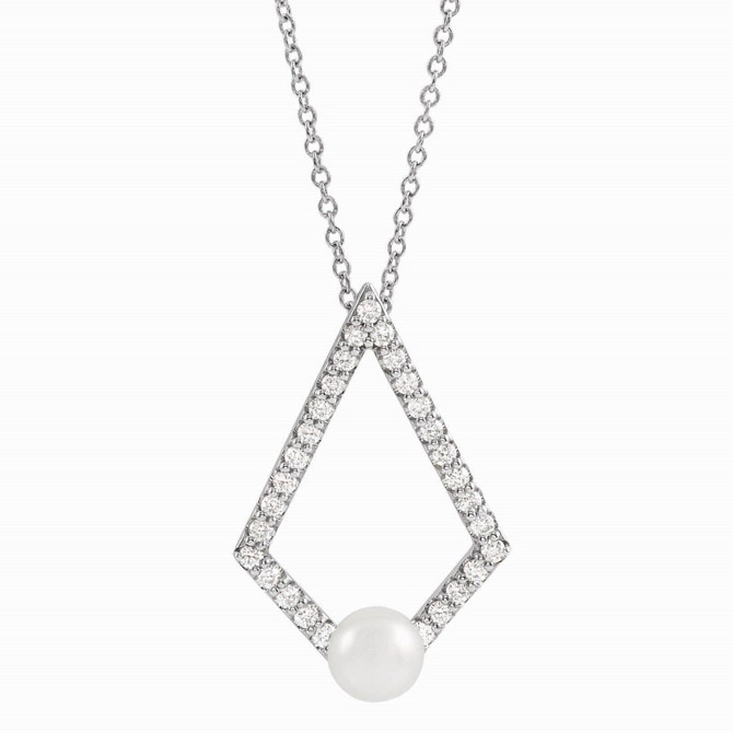 Stuller geometric pearl pendant