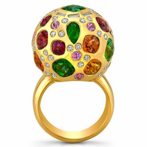 Dorian and Rose gemstone ball ring