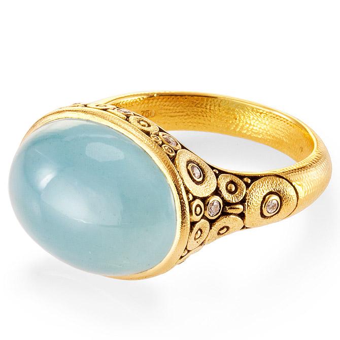 Alex Sepkus Circle Set aquamarine ring