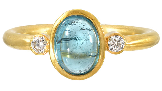 JS Noor blue tourmaline cabochon ring