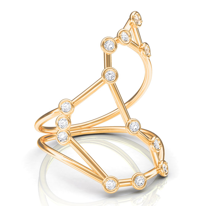 Jessie V E Constellation Scorpio ring