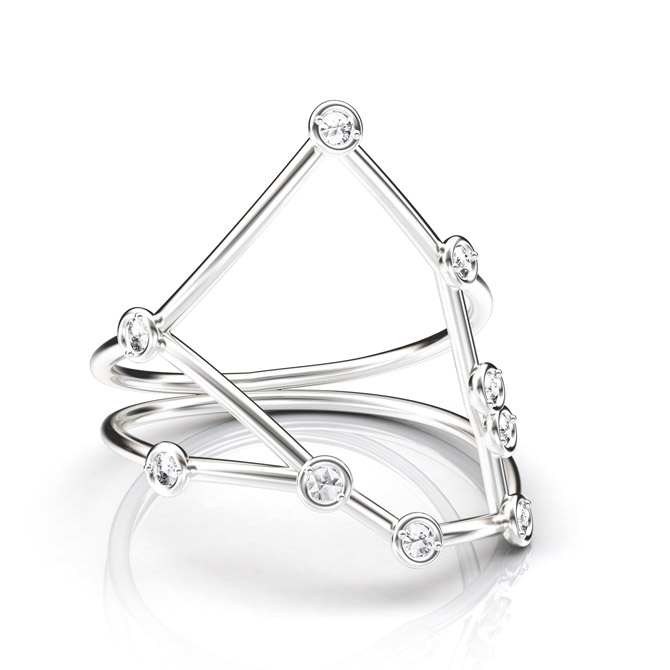 Jessie V E Constellation Taurus ring