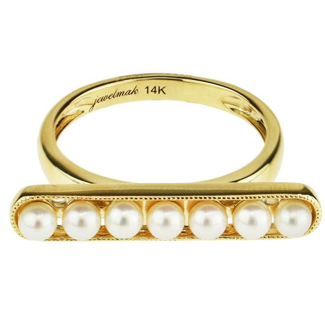 Jewelmak pearl bar ring