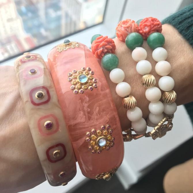 coral bracelets with Mark davis bangles