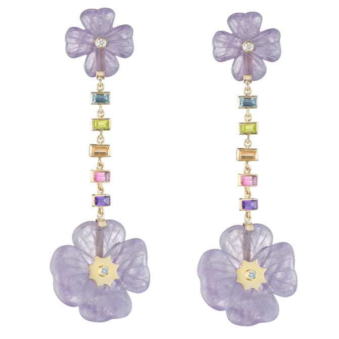 Brent Neale double Clover rainbow drop earrings