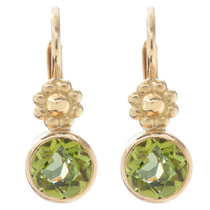 Christina Malle peridot Rosette earrings