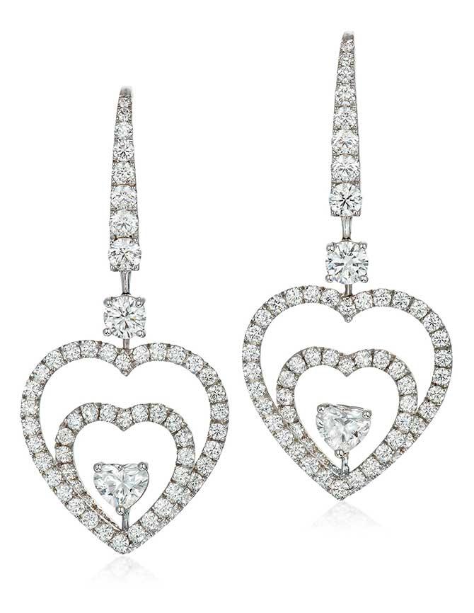 Graff diamond heart earrings