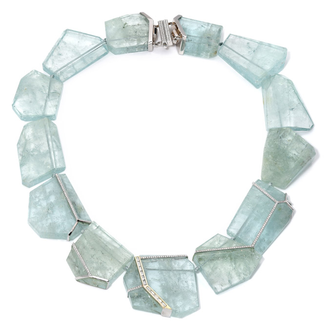 Emily P Wheeler aquamarine collar necklace