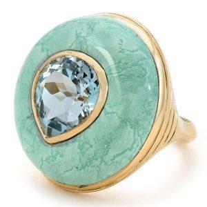 Retrouvai Lollipop aquamarine and turquoise ring