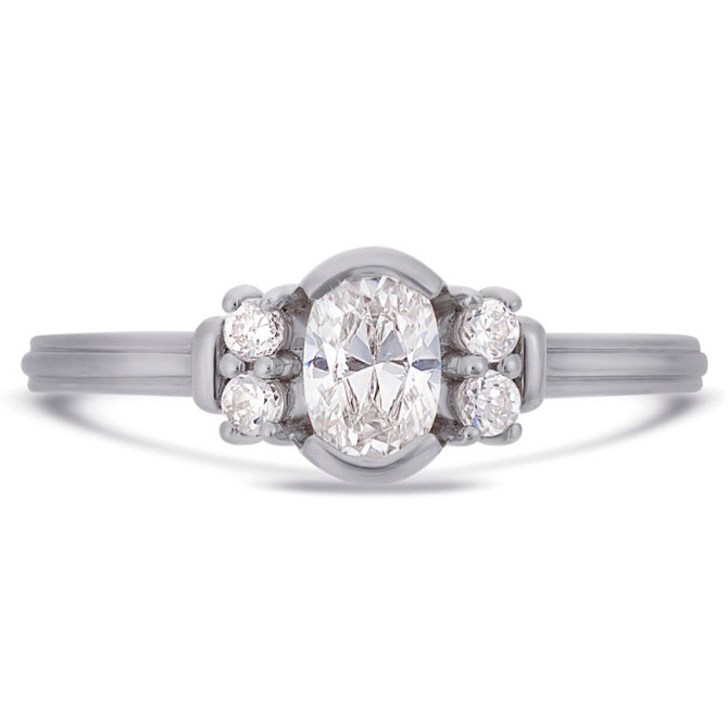 V by Laura Vann Deco oval engagement ring