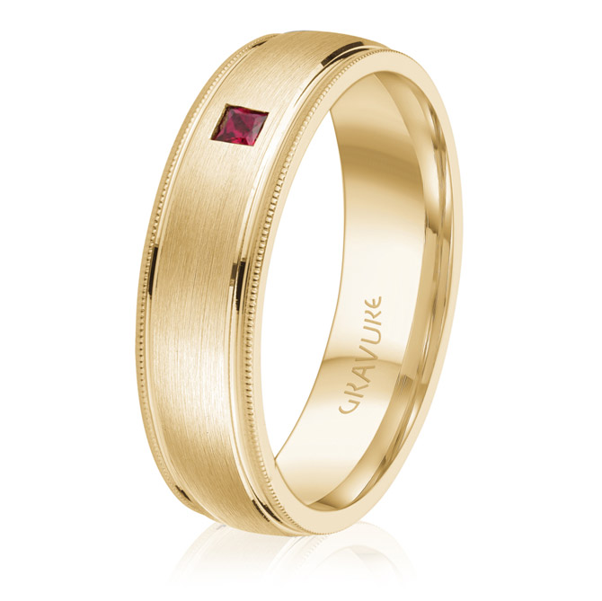Gravure Commitment ruby wedding band