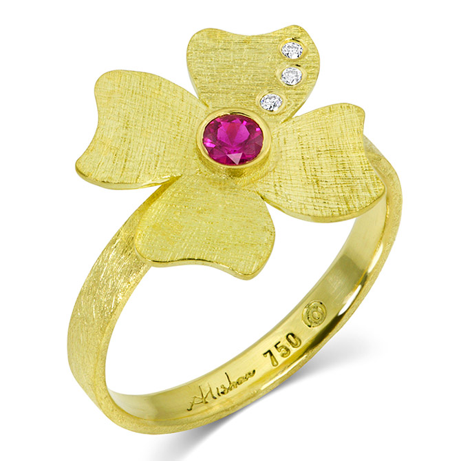 Alishan ruby flower ring