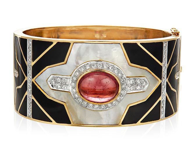 Tourmaline diamond bracelet