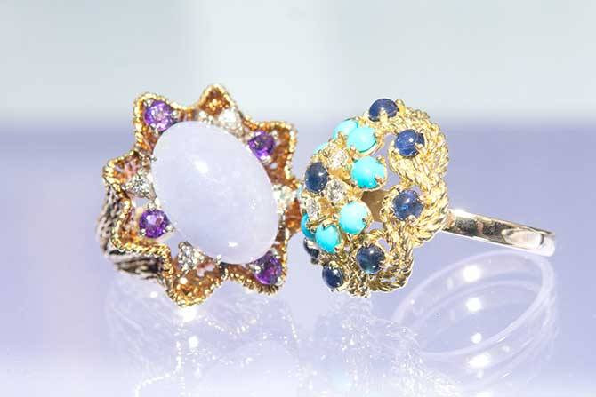 Two vintage colored stone rings from Baroque Rocks