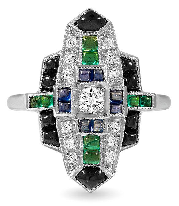 Brilliant earth diamond emerald sapphire onyx Costanza ring