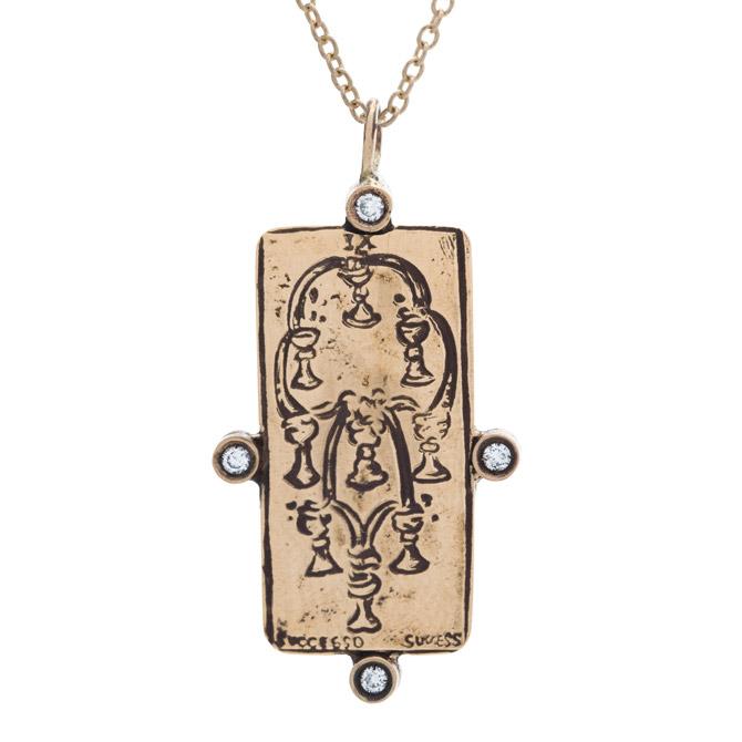Sofia Zakia Nine of Cups tarot card necklace