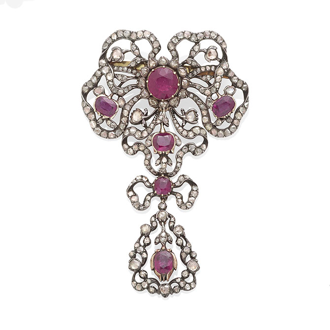 Dihann Carroll ruby and diamond brooch