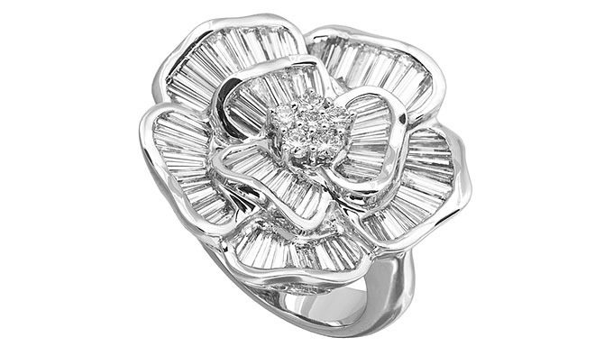 EI choice Jyes platinum diamond flower ring