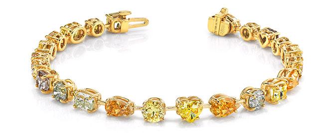 EI choice Norman Silverman shades of yellow fancy shape diamond bracelet