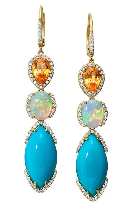 EI choice Parle turquoise opal garnet earrings
