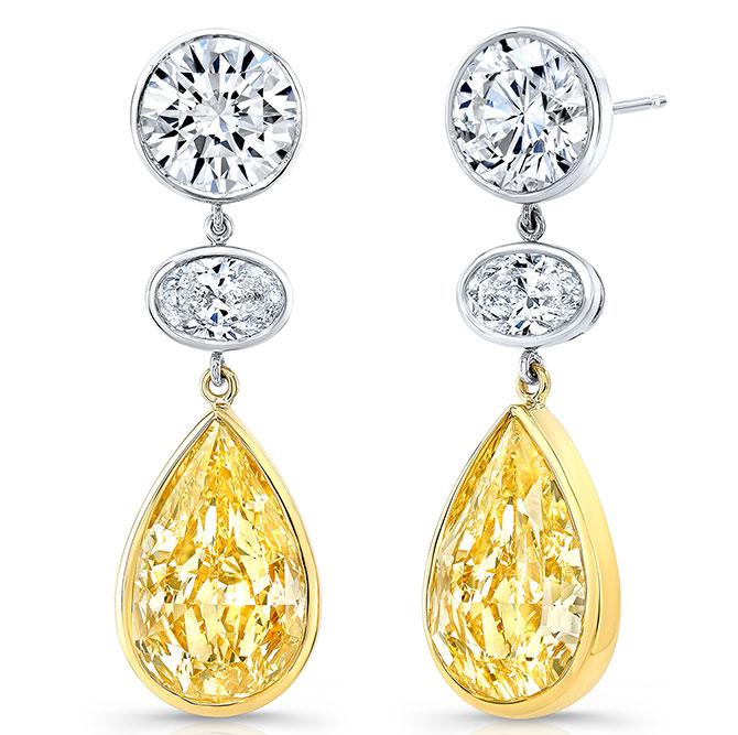EI choice Rahaminov yellow white diamond drop earrings