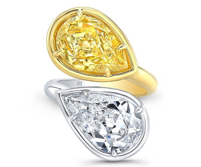 EI choice Rahaminov yellow white pear shape ring
