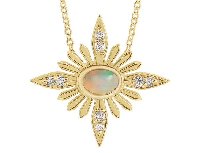 EI choice Stuller celestial diamond opal necklace