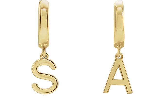 EI choice Stuller gold initial earrings