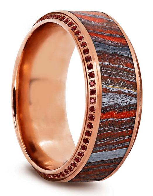 EI choice Thorsten band tiger iron inlay rubies