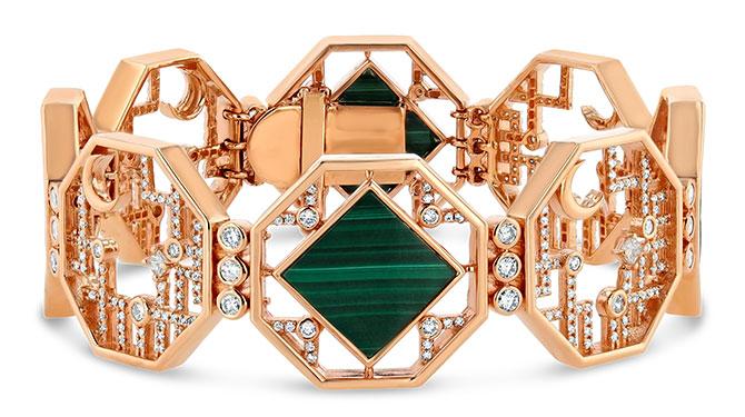 EI choice Veniroe malachite rose gold bracelet