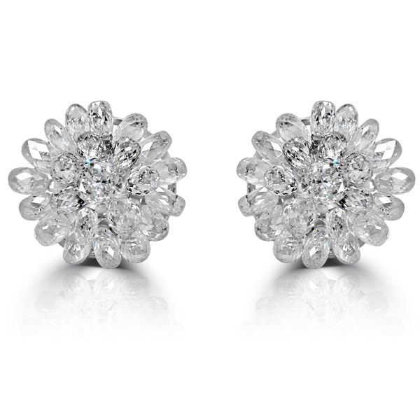 Vivaan briolette diamond flower earrings