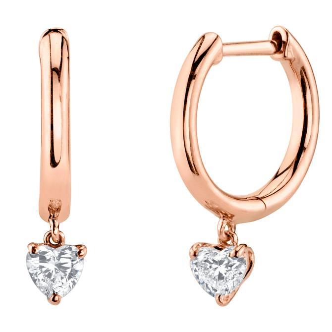 Anito Ko plain huggie diamond heart earrings