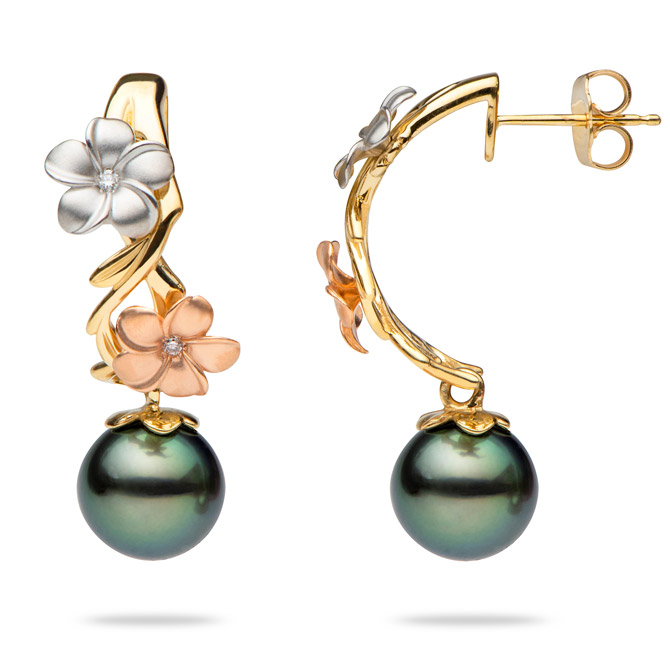 Maui Divers Pearls in Bloom earrings