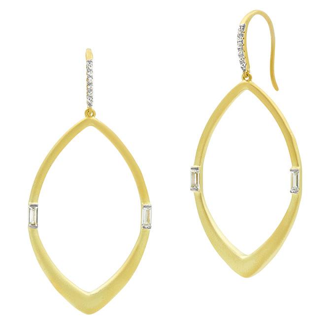 Freida Rothman oblong gold hoops