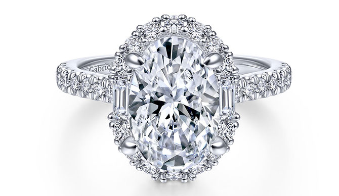 Gabriel oval halo engagement ring