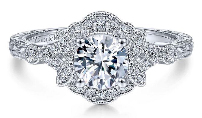 Gabriel vintage halo ring