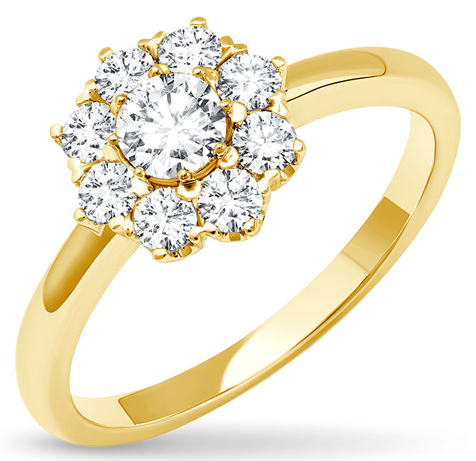 Graziela yellow gold diamond cluster ring