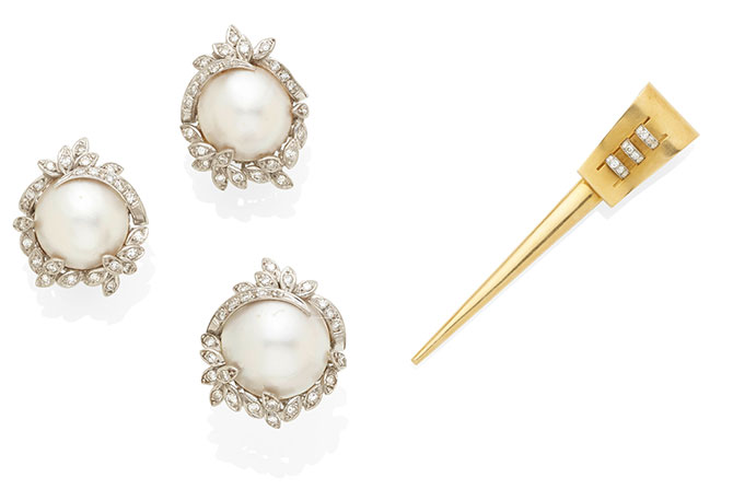 Jessye Norman pearl set and lapel pin